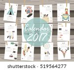colorful cute monthly calendar... | Shutterstock .eps vector #519564277