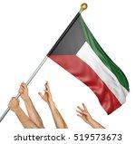 team of peoples hands raising... | Shutterstock . vector #519573673