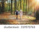 two walking in forest children. ... | Shutterstock . vector #519573763