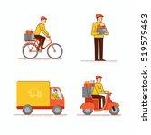 vector set of  illustrations in ... | Shutterstock .eps vector #519579463