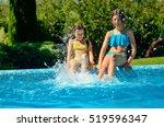 kids in swimming pool have fun  ... | Shutterstock . vector #519596347