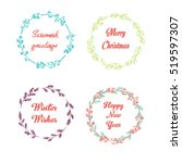 hand drawn set with floral... | Shutterstock .eps vector #519597307