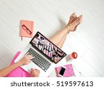 woman watching online tutorial... | Shutterstock . vector #519597613