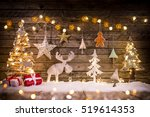 christmas decoration on wooden... | Shutterstock . vector #519614353