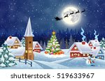 a house in a snowy christmas... | Shutterstock . vector #519633967