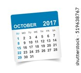 october 2017 calendar vector