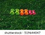 set of colored dumbbells on... | Shutterstock . vector #519644047