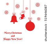 Red Christmas ornaments card. Vector illustration | Shutterstock vector #519646087
