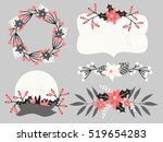 a set of christmas floral... | Shutterstock .eps vector #519654283