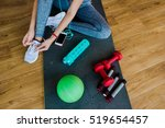 girl in a gym  sports equipment ... | Shutterstock . vector #519654457