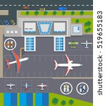 airport top view with planes ... | Shutterstock .eps vector #519655183