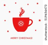 christmas hot coffee in red cup.... | Shutterstock .eps vector #519656473