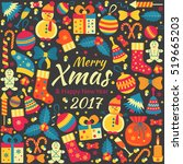 christmas greeting card with... | Shutterstock .eps vector #519665203