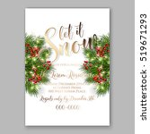 christmas party invitation with ... | Shutterstock .eps vector #519671293