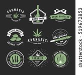 Set Of Vector Cannabis Badges....