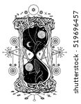 hourglass tattoo. mystic time... | Shutterstock .eps vector #519696457