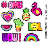 set of cute stickers with... | Shutterstock .eps vector #519701263