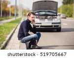 a young man sits on the side of ... | Shutterstock . vector #519705667