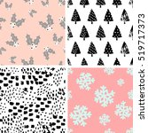 a set of four winter seamless... | Shutterstock .eps vector #519717373