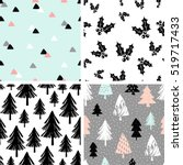 a set of four winter seamless... | Shutterstock .eps vector #519717433