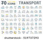 set vector line icons in flat... | Shutterstock .eps vector #519737293