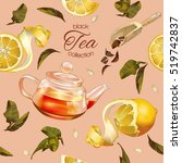 vector black tea seamless... | Shutterstock .eps vector #519742837