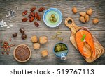 selection food sources of omega ... | Shutterstock . vector #519767113