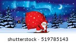 santa claus by ski carrying a... | Shutterstock .eps vector #519785143