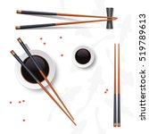 sushi set. chopsticks and soy... | Shutterstock .eps vector #519789613