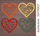 set stencil lacy hearts with... | Shutterstock .eps vector #519790027