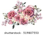 watercolor flowers. floral... | Shutterstock . vector #519807553