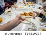family gathering eating meal... | Shutterstock . vector #519819337