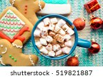 hot chocolate with marshmallows ... | Shutterstock . vector #519821887