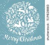 snowy christmas card.... | Shutterstock .eps vector #519828883
