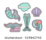 vector set of fashion patches... | Shutterstock .eps vector #519842743