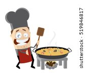 happy chef is cooking spanish... | Shutterstock .eps vector #519846817