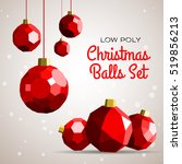 low poly merry christmas balls... | Shutterstock .eps vector #519856213
