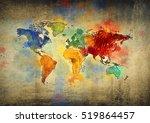 vintage world map   Shutterstock . vector #519864457