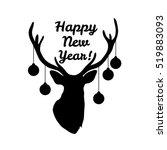 sillhouette of deer head with... | Shutterstock .eps vector #519883093