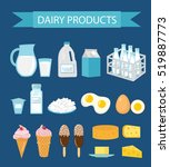 dairy products icon set  flat... | Shutterstock .eps vector #519887773