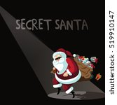 cartoon secret santa background ... | Shutterstock .eps vector #519910147