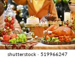 roasted turkey.table served... | Shutterstock . vector #519966247