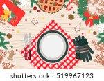 christmas dinner on wood table... | Shutterstock .eps vector #519967123