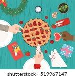 christmas dinner on wood table... | Shutterstock .eps vector #519967147