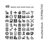 49 airport and travel icon set | Shutterstock .eps vector #519986743