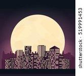 night cityscape in flat style. | Shutterstock .eps vector #519991453