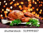 roasted turkey. thanksgiving... | Shutterstock . vector #519999307