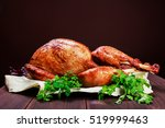 roasted turkey. thanksgiving... | Shutterstock . vector #519999463