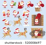 santa claus ride on reindeer ... | Shutterstock .eps vector #520008697