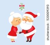 Santa Claus Kiss His Wife Mrs....